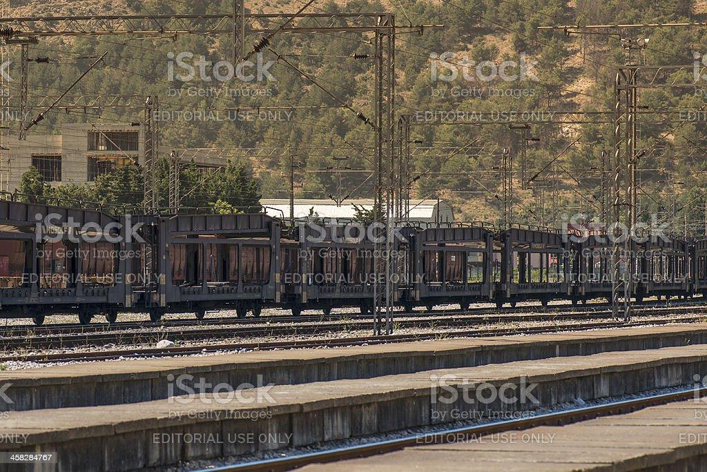 Car shuttle Train at Town of Bar, Montenegro stock photo