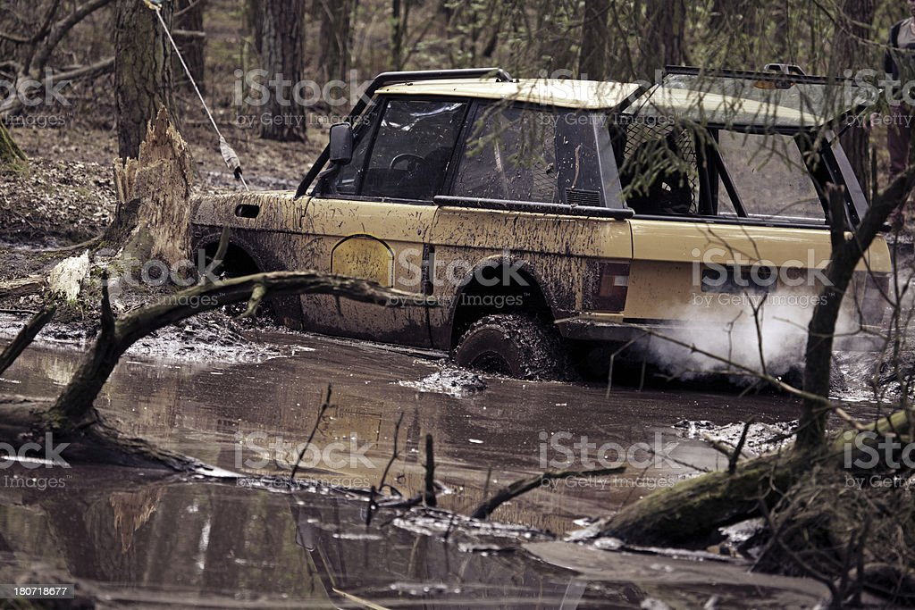 car skidding in water royalty-free stock photo