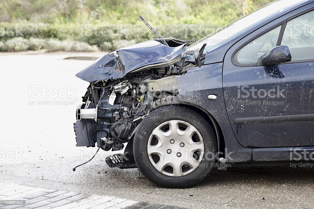 Car smashed in the accident stock photo