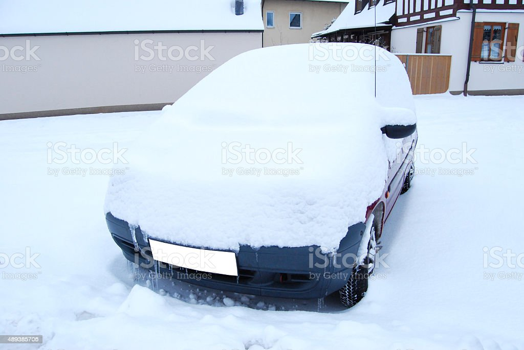 Car snow-covered stock photo