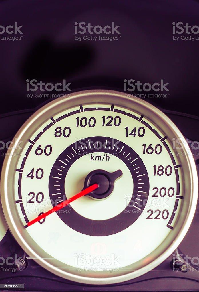 Car speed meter stock photo