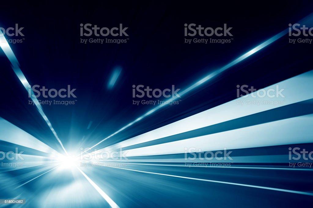 Car Speeding Through Tunnel stock photo