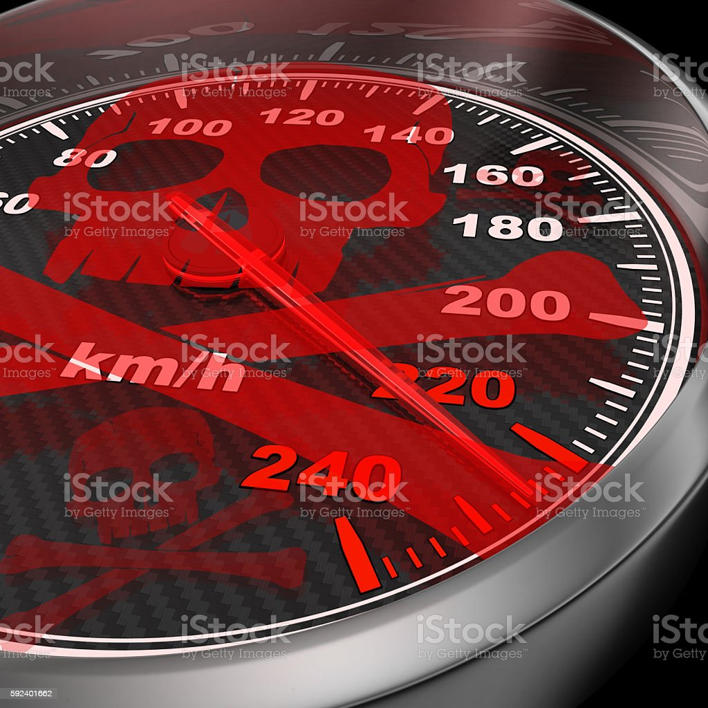 Car speedometer and red skull stock photo