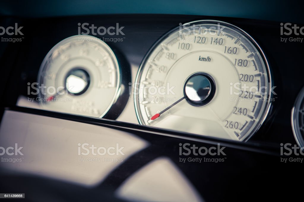 Car speedometer detail stock photo
