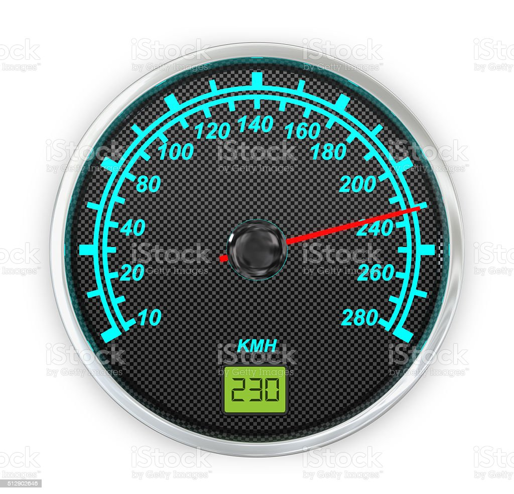 Car speedometer illuminated stock photo