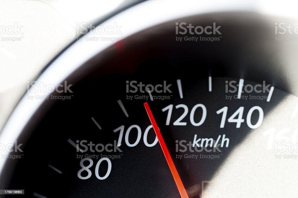 Car speedometer with red arrow. royalty-free stock photo