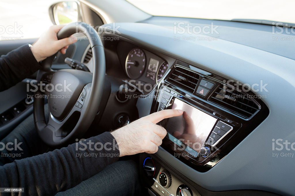 car stereo multimedia touch screen stock photo