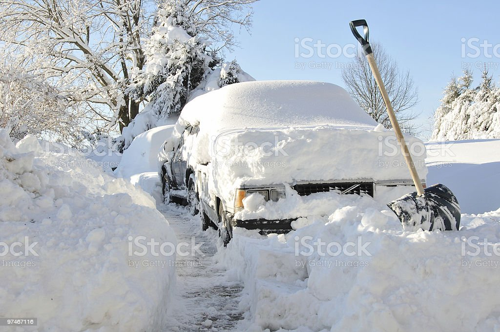 Car stuck in driveway stock photo