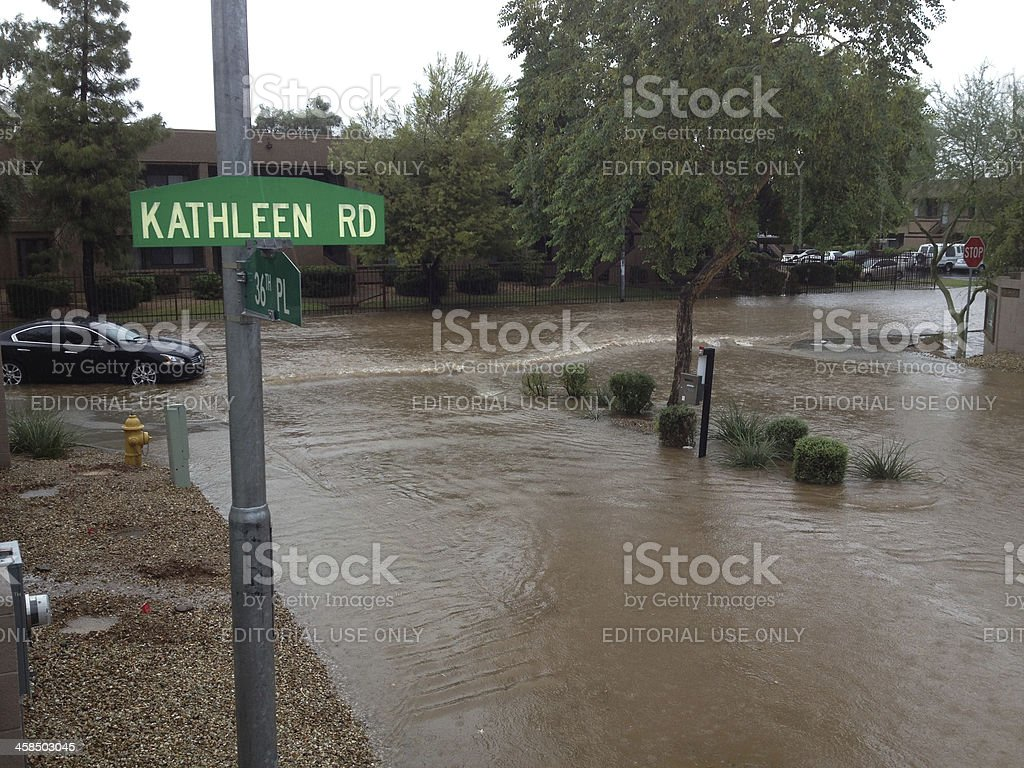 Car stuck in flooded area royalty-free stock photo