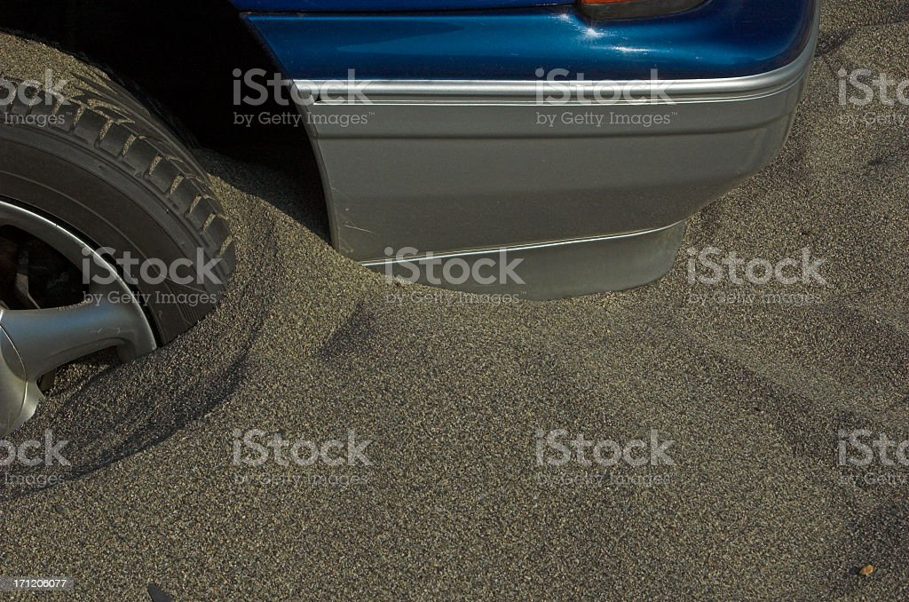 Car stuck in sand royalty-free stock photo