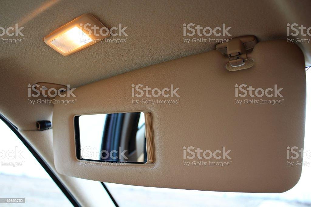 Car sun light protection visor stock photo