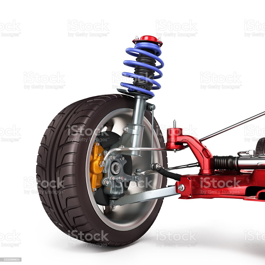 car suspension separately from the car isolated on white stock photo