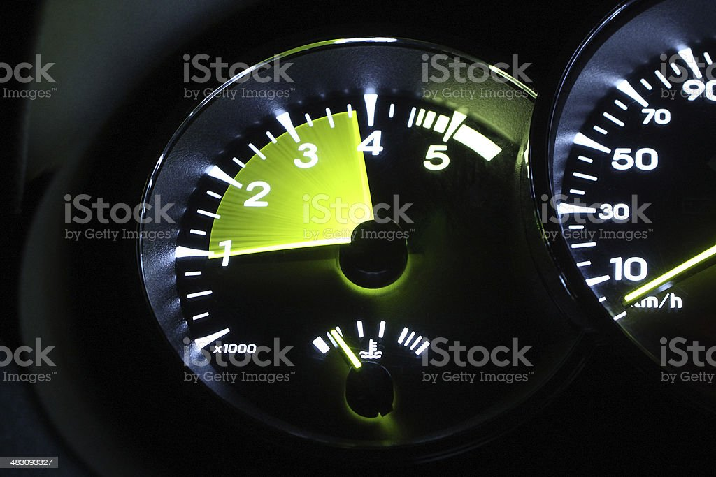 Car tahcometer in motion stock photo