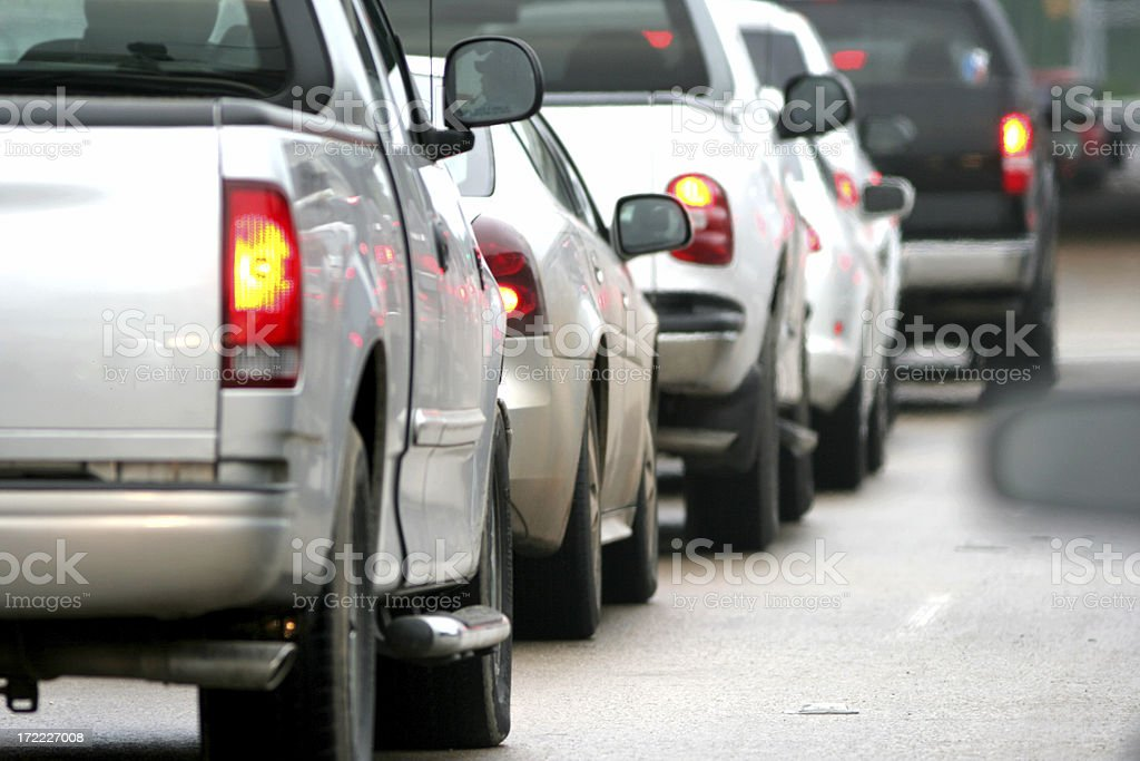 Car Tail lights in Traffic stock photo