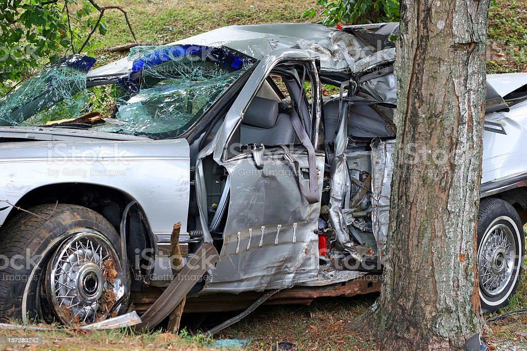 A car that sustained a lot of damage in an accident royalty-free stock photo