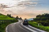 Car through a country road
