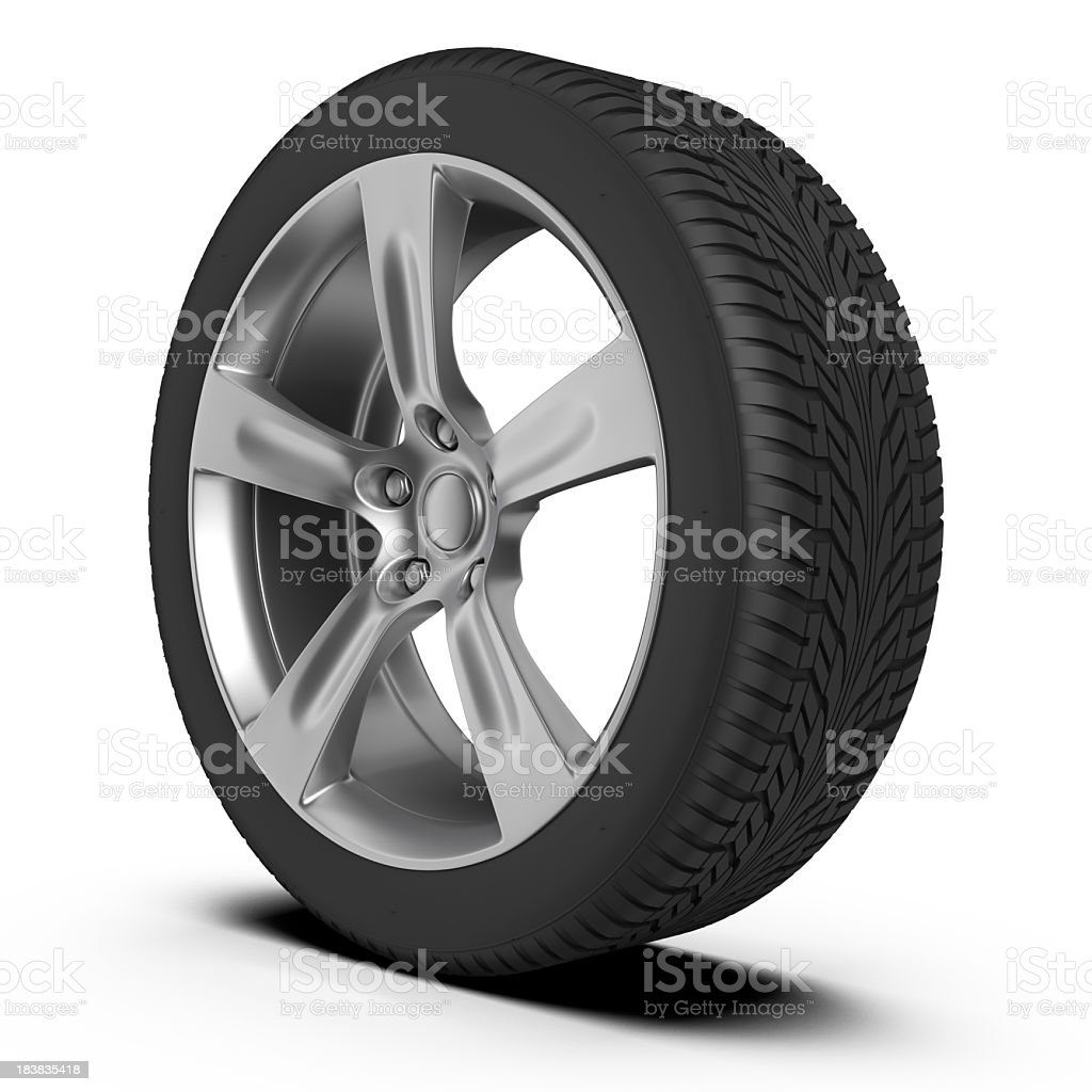 Car tire and wheel on white background royalty-free stock photo