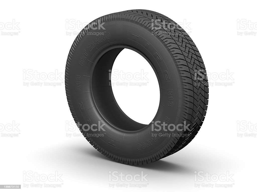 Car tire rendering, isolated on white royalty-free stock photo