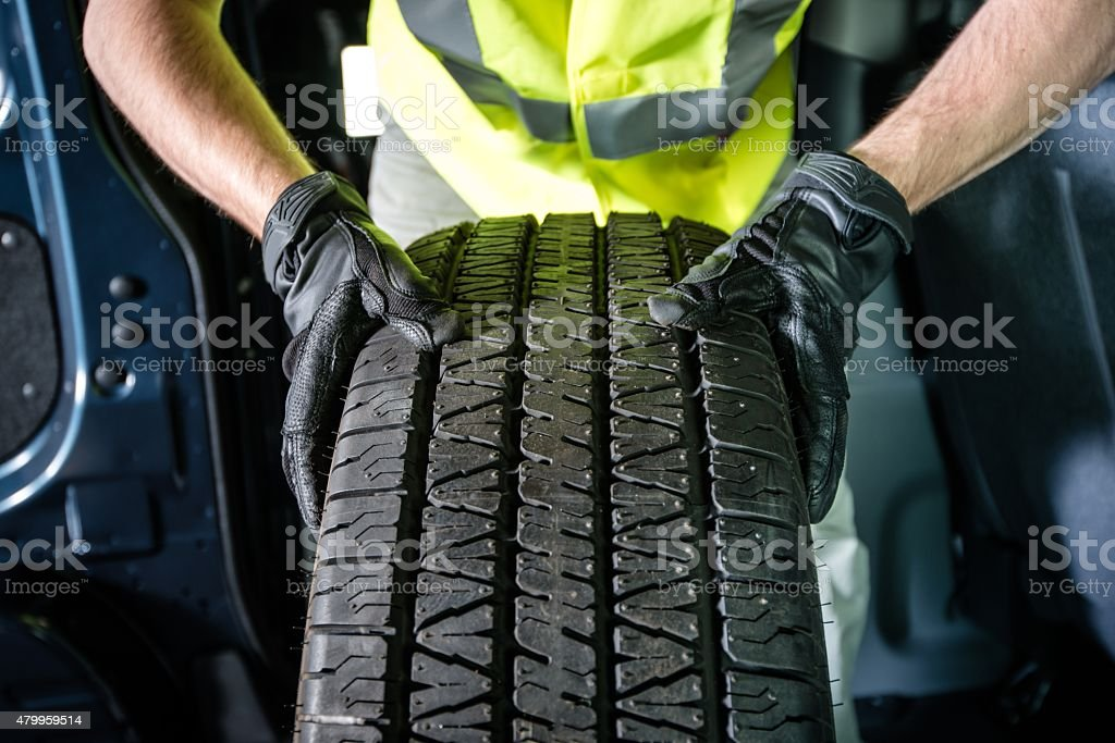 Car Tire Replacement stock photo