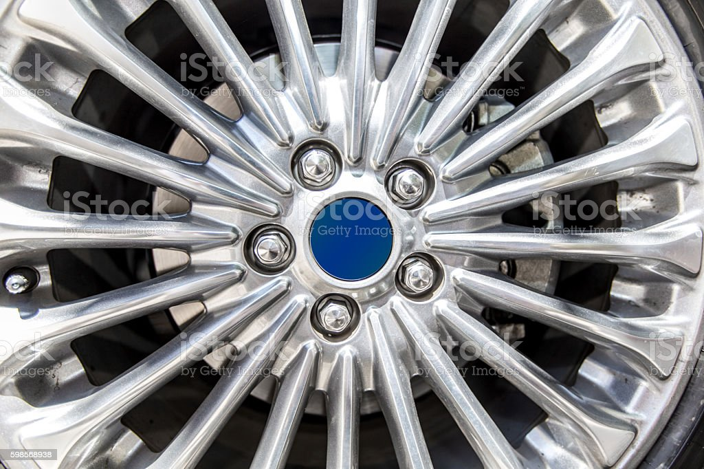 Car tire rim close up stock photo
