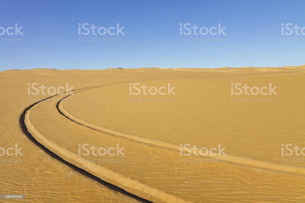Car Tire Tracks in the Desert royalty-free stock photo
