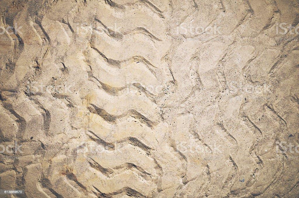 Car tire tracks sand stock photo