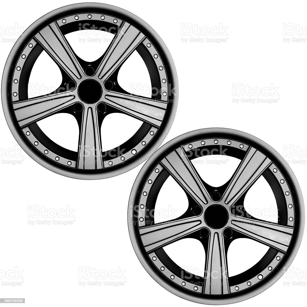Car tire with rims stock photo