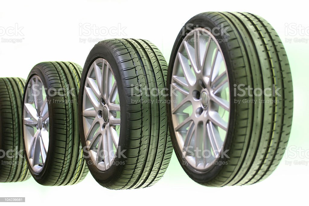 Car Tires in a Row royalty-free stock photo
