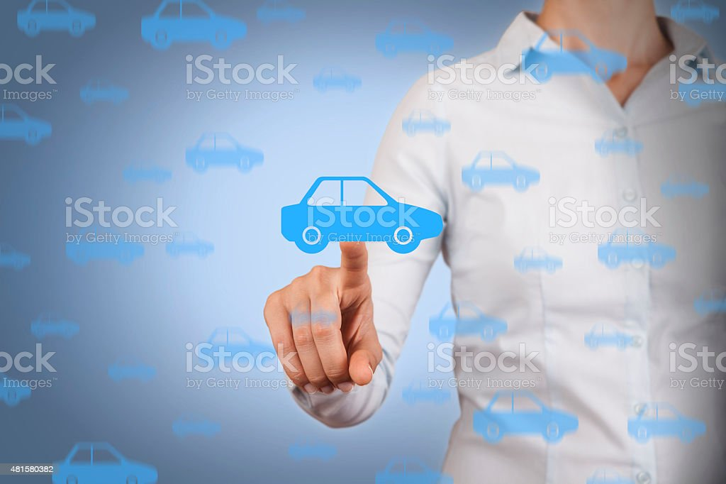 Car Touching on Visual Screen stock photo