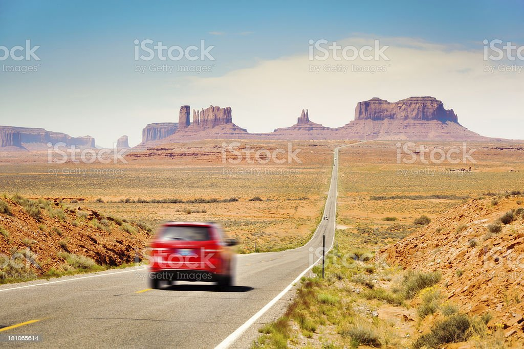 Car Tourist Traveling in the American Southwest, Monument Valley, Arizona stock photo