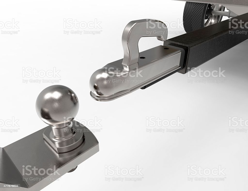 car tow ball and trailer isolated on white stock photo