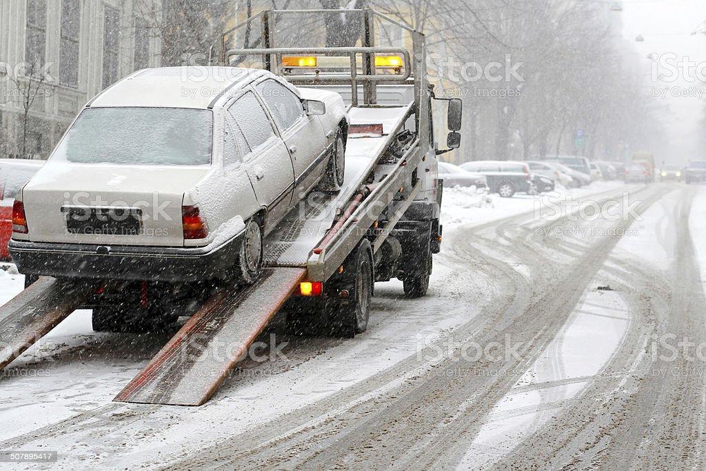 Car towing stock photo