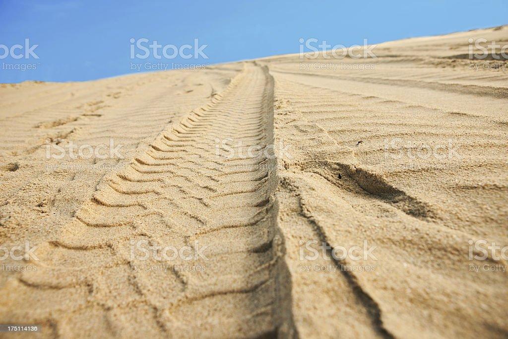 Car tracks on sand stock photo