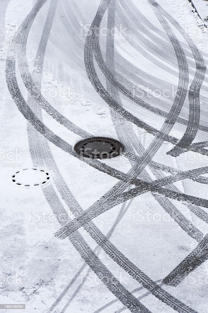 car tracks tire marks in the winter with snow royalty-free stock photo