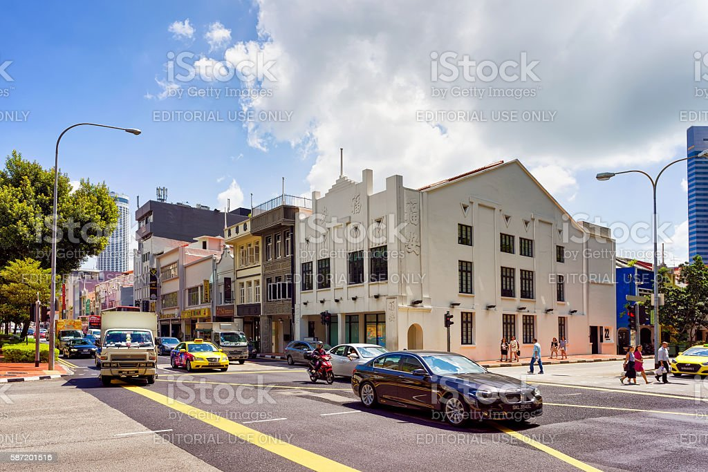 Car traffic and Shop houses in Clarke Quay in Singapore stock photo