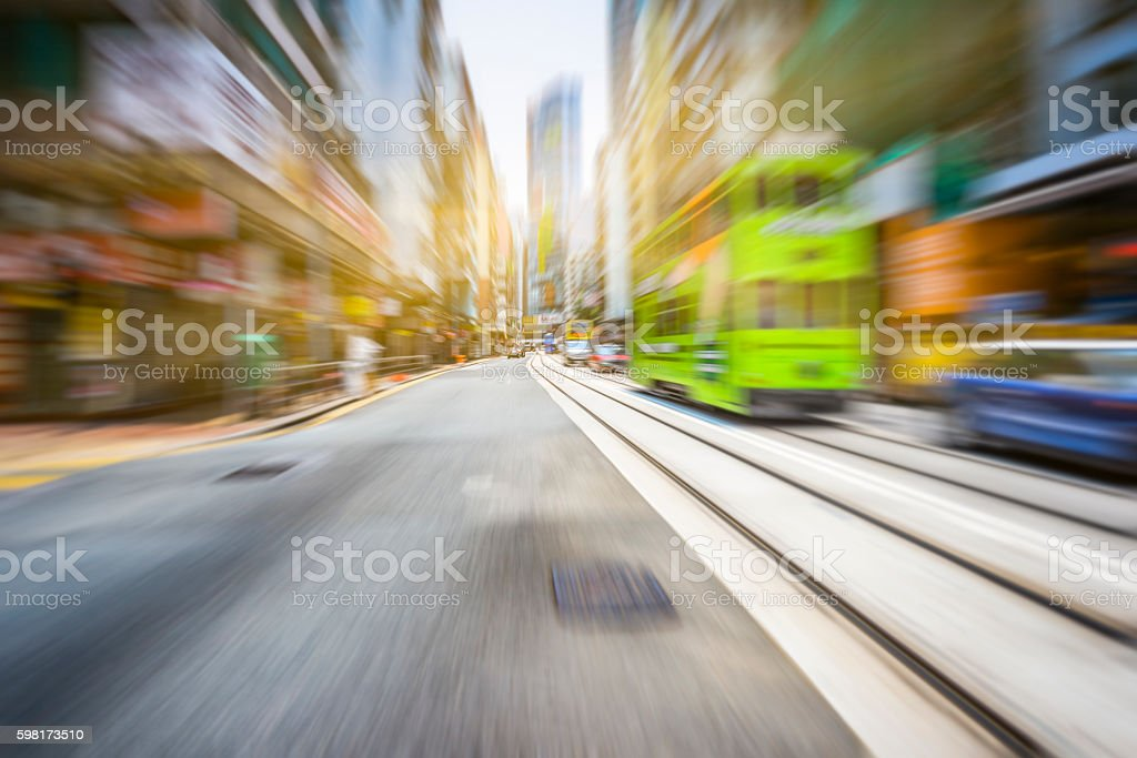 car traffic and tram in hong kong stock photo