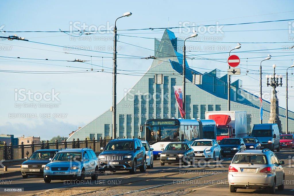 Car traffic in Riga stock photo