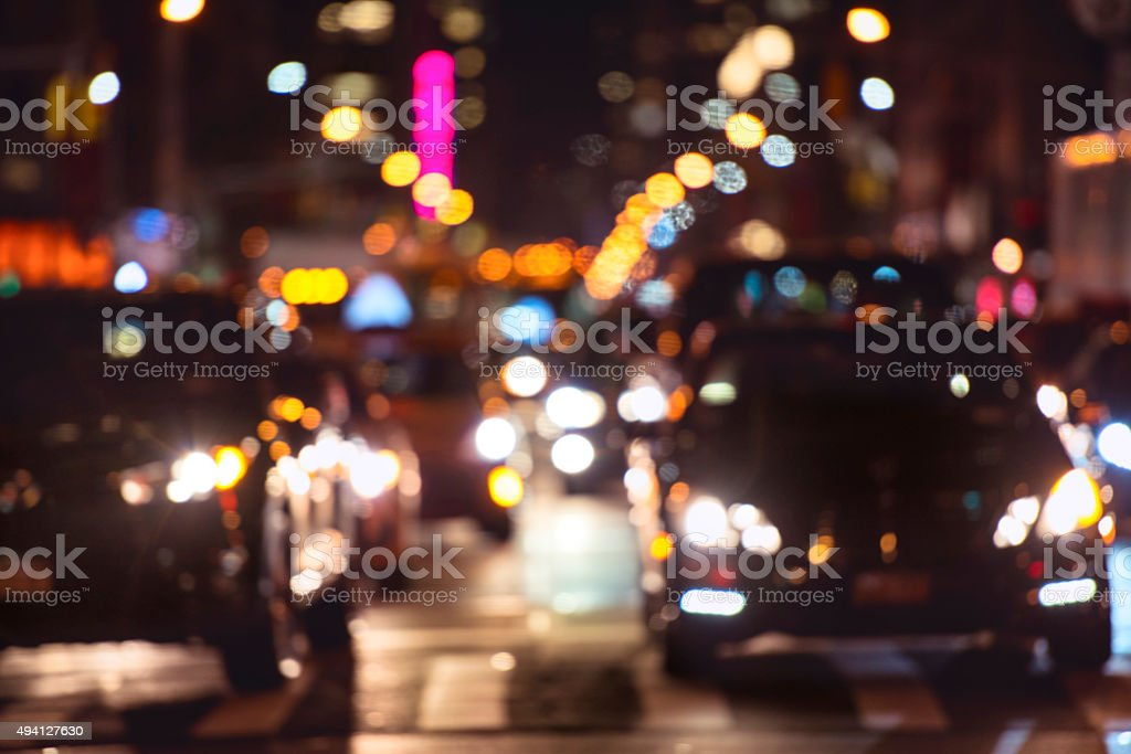 car traffic on the night street in New York City stock photo