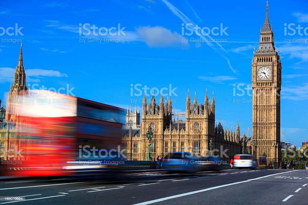 Car traffic on Westminster bridge stock photo
