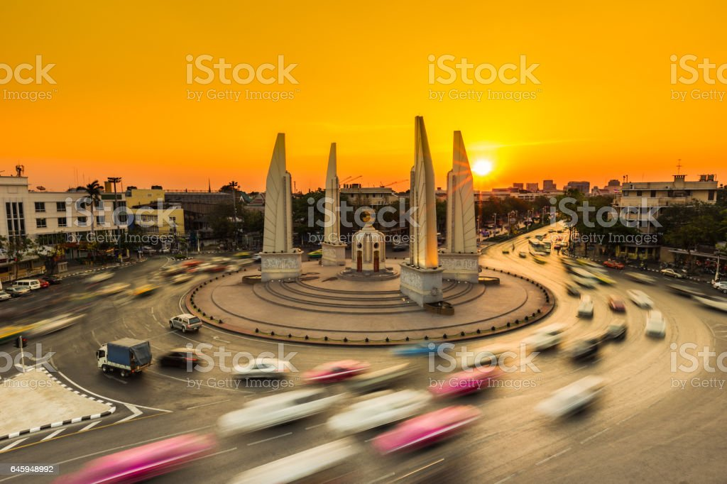 Car traffic with the sunset background stock photo