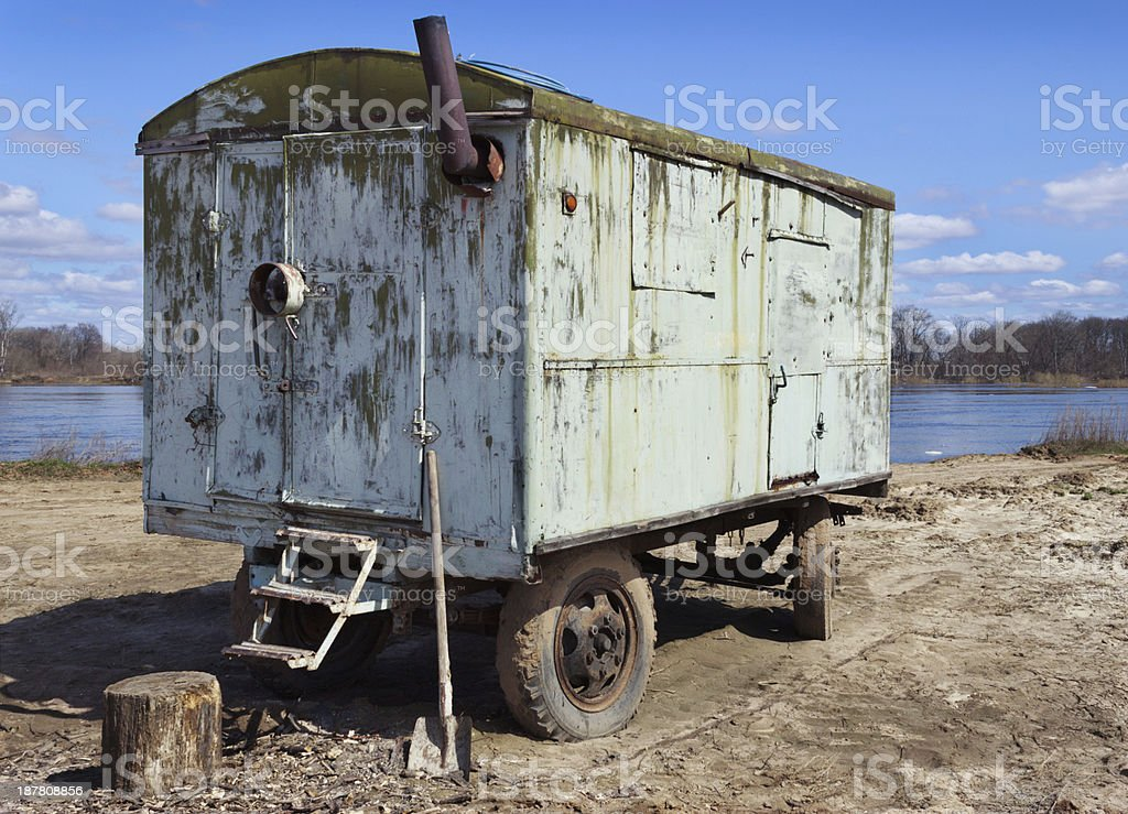 Car trailer kung in a vacant lot royalty-free stock photo