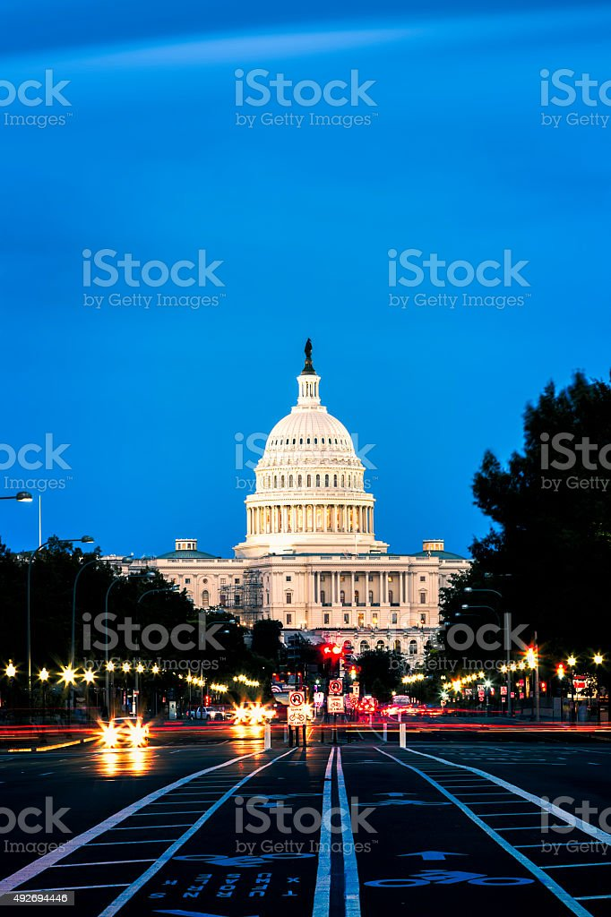 Car Trails in Capitol Hill, Washington DC stock photo