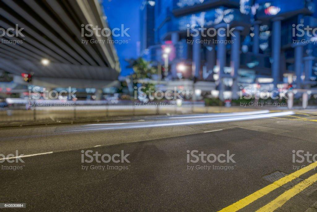 car trails on city street,Hong Kong stock photo