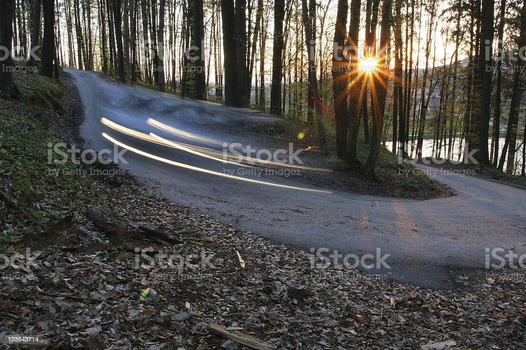 Car trails stock photo