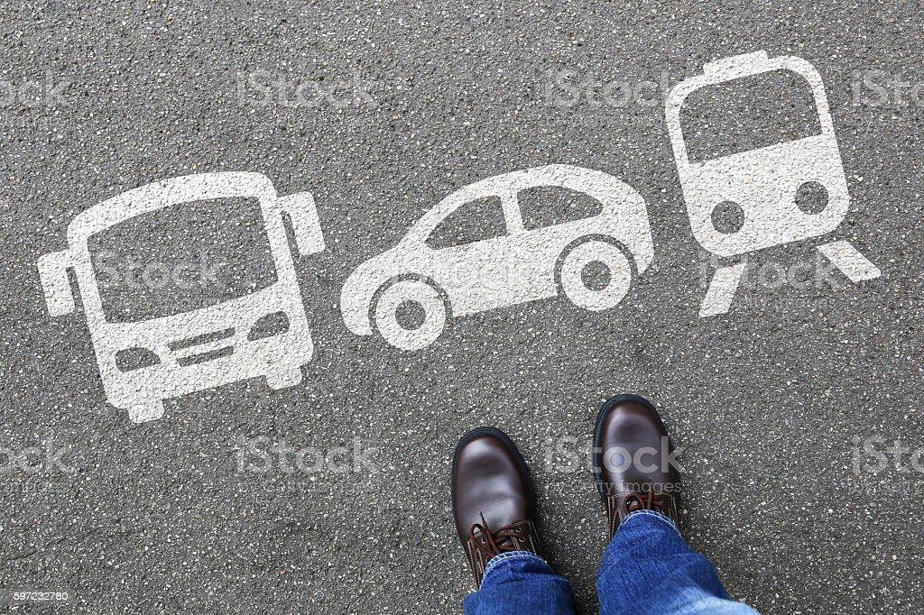 Car train bus choice man people choosing vehicle traffic city stock photo