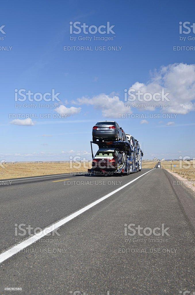 Car Transport, Laramie, Wyoming stock photo