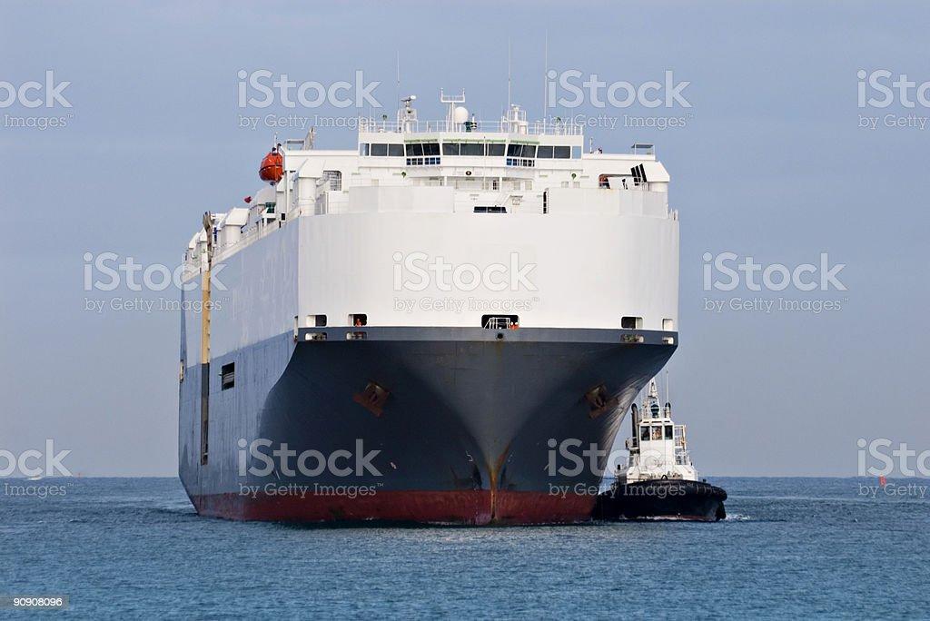Car Transport Ship Approaching Port royalty-free stock photo