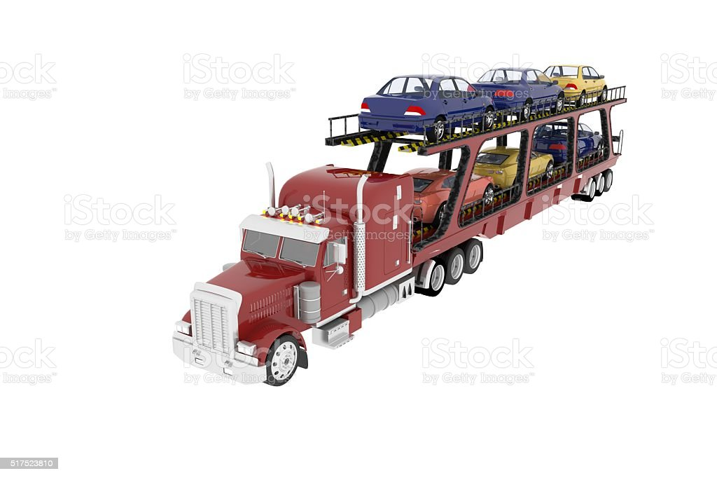 car transport truck model stock photo