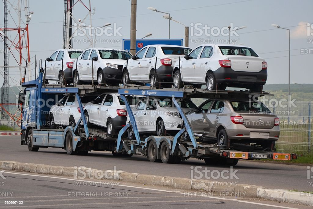 Car transporter lorry stock photo