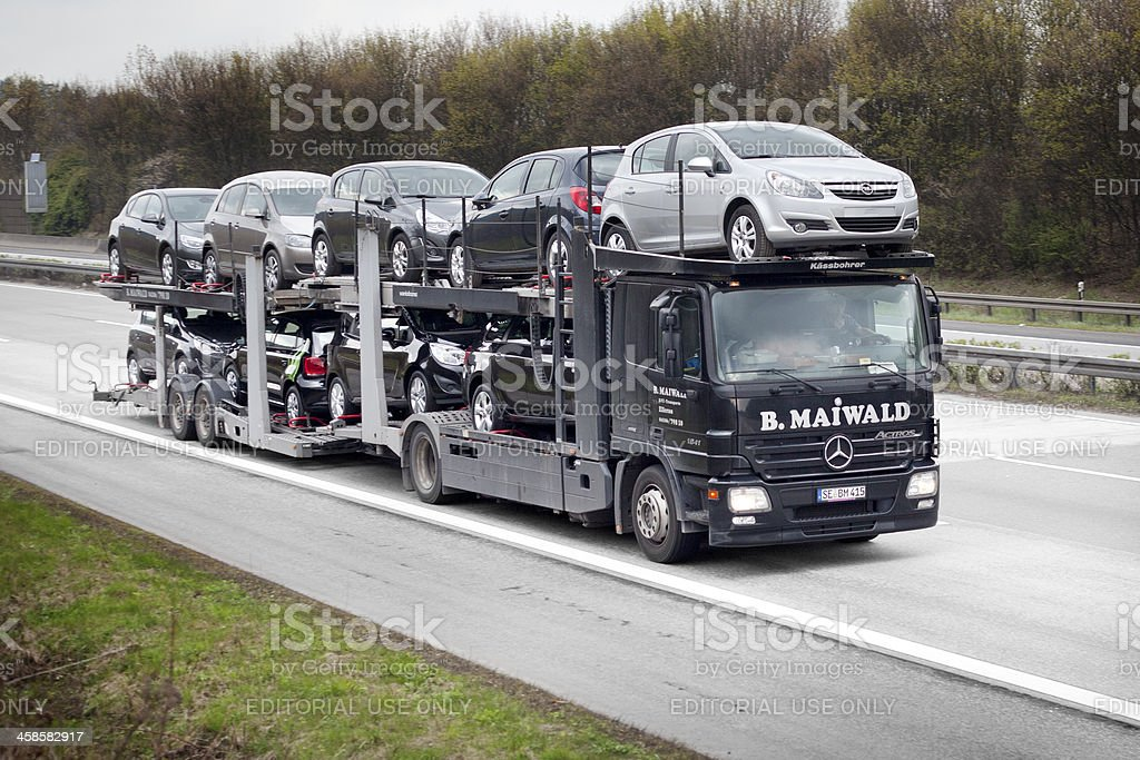 Car transporter on german Autobahn stock photo
